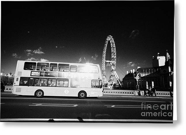 Hybrid Electric London Red Double Decker Bus Public Transport Crossing Westminster Bridge England Greeting Card by Joe Fox