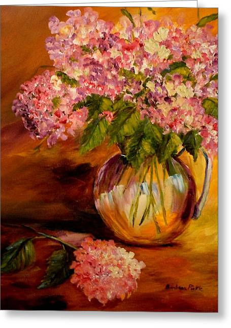 Hydrangeas From The Garden Greeting Card by Barbara Pirkle