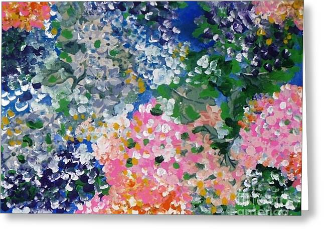 Greeting Card featuring the painting Hydrangeas I by Alys Caviness-Gober