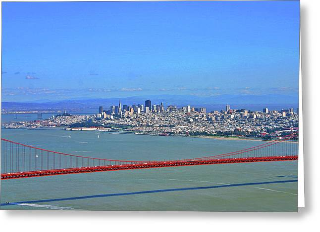 Greeting Card featuring the photograph I Don't See No Stinkin' Fog Golden Gate San Francisco California by Duncan Pearson