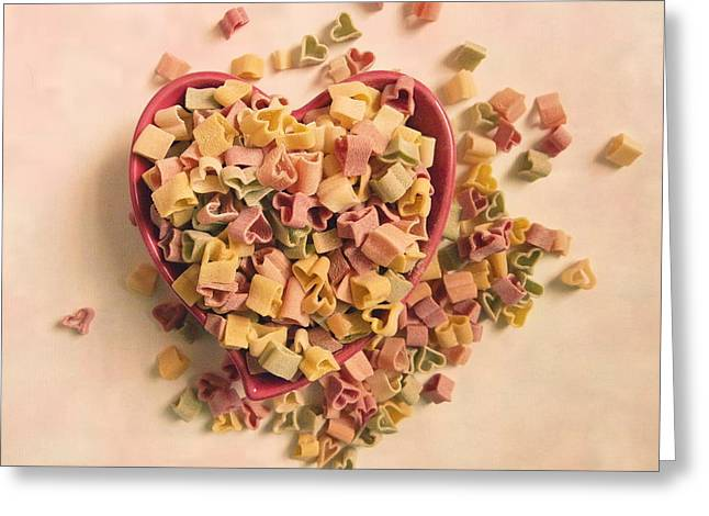 Greeting Card featuring the photograph I Heart Pasta by Robin Dickinson