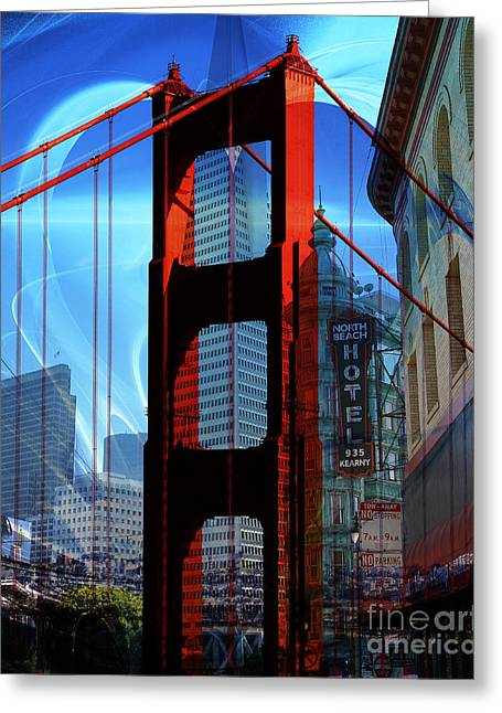 I Left My Heart In San Francisco . Golden Gate Bridge . Transamerica Pyramid . North Beach Greeting Card by Wingsdomain Art and Photography