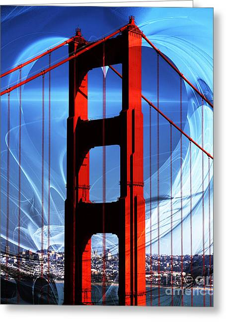 I Left My Heart In San Francisco . Golden Gate Bridge Greeting Card by Wingsdomain Art and Photography