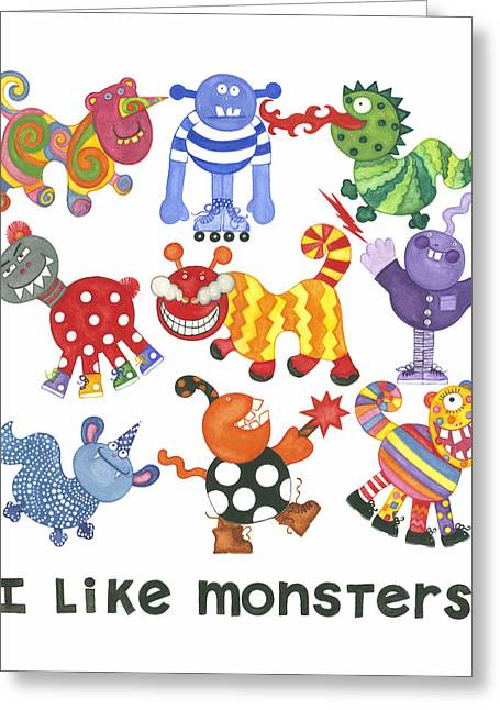 I Like Monsters Greeting Card by Barbara Esposito