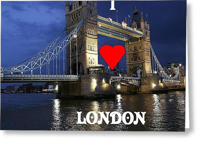 I Love London Greeting Card by Florene Welebny