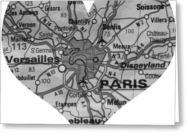 I Love Paris In Black And White Greeting Card by Georgia Fowler