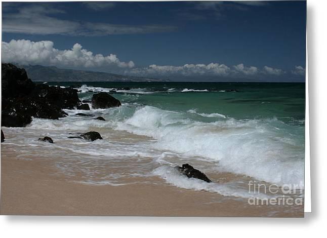 i miha kai i ka aina Hookipa Beach Maui North Shore Hawaii Greeting Card by Sharon Mau