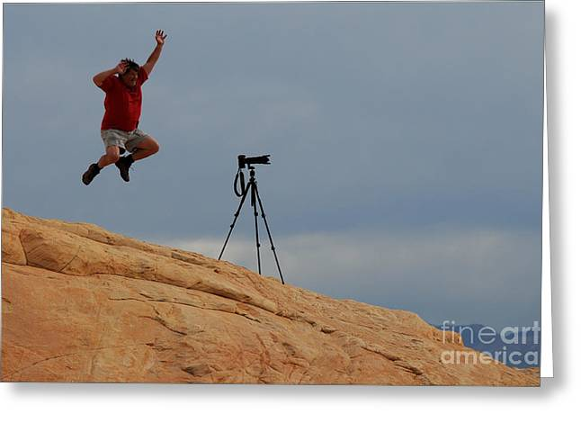 I Think He Got The Shot Greeting Card by Vivian Christopher