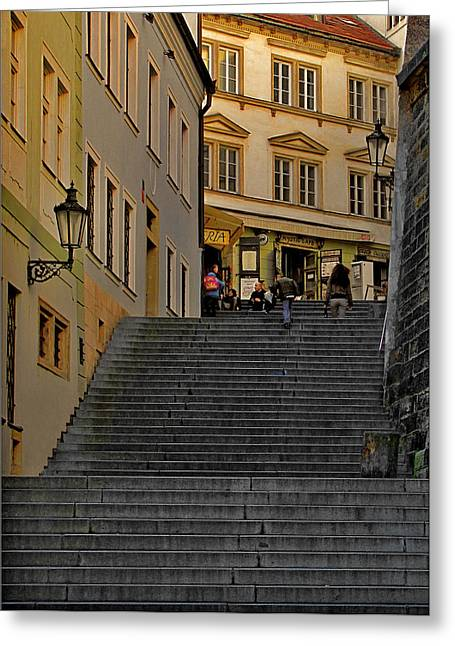 I Walked The Streets Of Prague Greeting Card by Christine Till