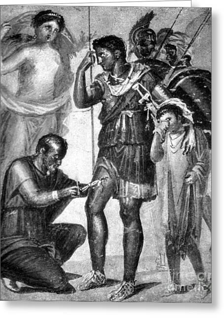 Iapyx Removing Arrowhead From Leg Greeting Card by Photo Researchers