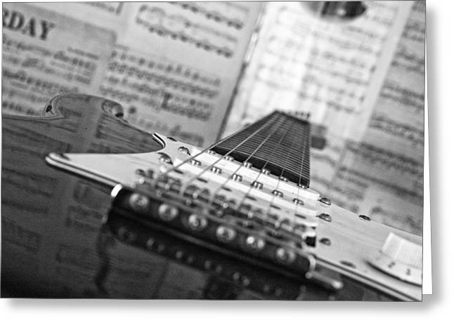 Ibanez Six String Black And White Greeting Card