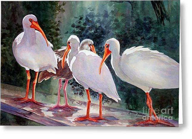 Greeting Card featuring the painting Ibis - Youngster Among Us. by Roxanne Tobaison