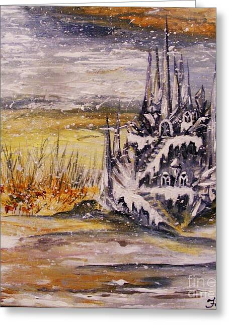 Greeting Card featuring the painting Ice Castle by Karen  Ferrand Carroll