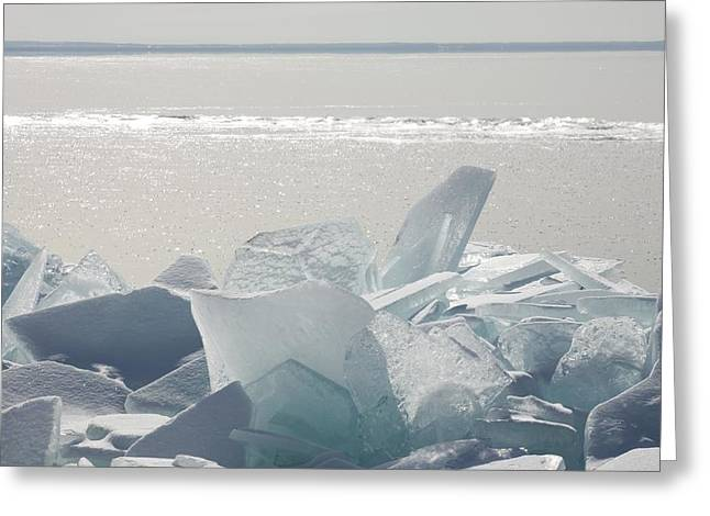 Ice Chunks On The Shores Of Lake Greeting Card
