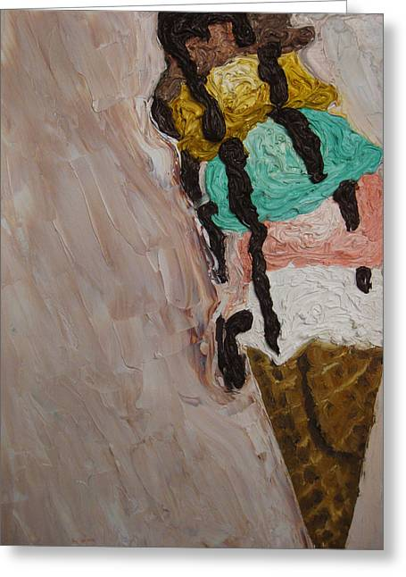 Greeting Card featuring the painting Ice Cream Dripping And Falling Over by M Zimmerman