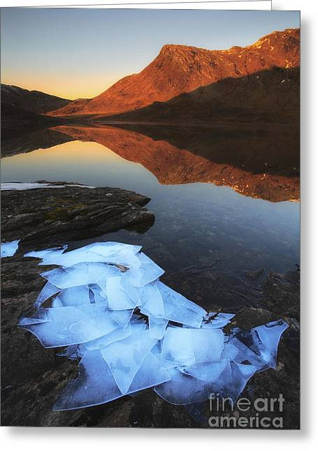 Ice Flakes In The Shadows Greeting Card