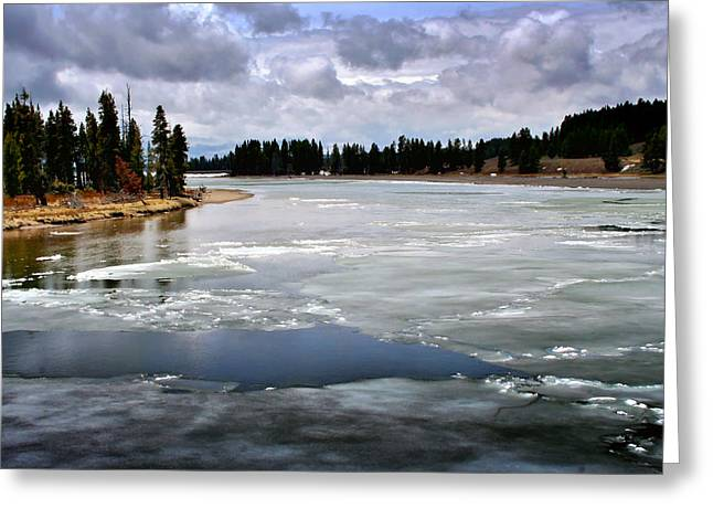 Ice On The Yellowstone River Greeting Card by Ellen Heaverlo