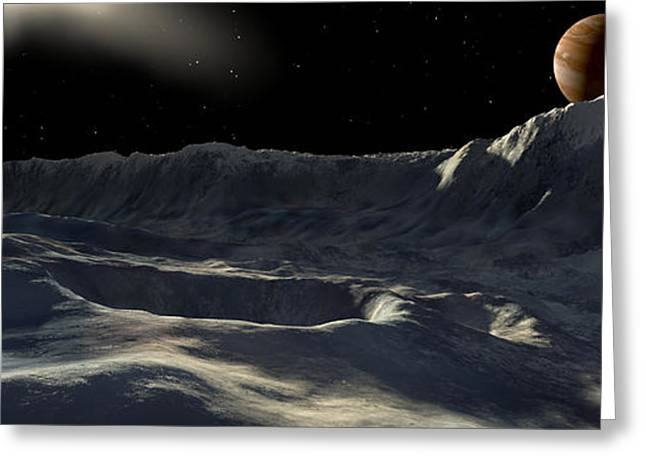Ice Scarp On Jupiters Large Moon Greeting Card by Ron Miller