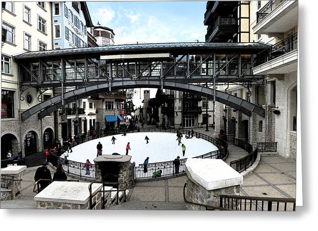 Ice Skating Rink In Vail Square Greeting Card by Bill Kennedy