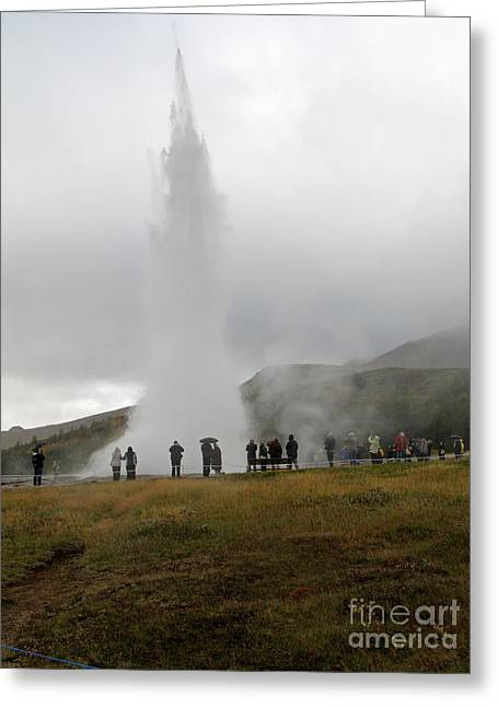 Iceland Geyser Greeting Card by Louise Peardon