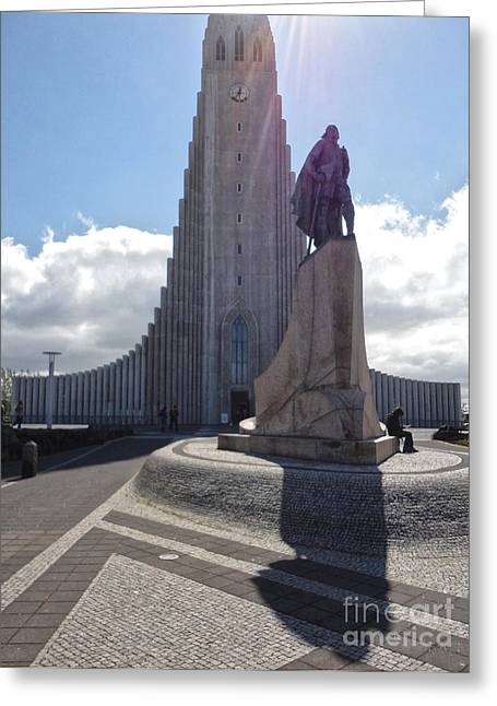 Iceland Leif Erricson Statue 02 Greeting Card by Gregory Dyer