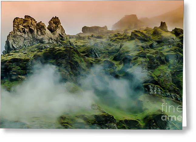 Icelandic Mist Greeting Card by Michael Canning
