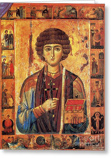 Icon Of Saint Pantaleon Greeting Card by Science Source