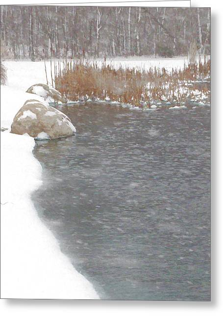 Greeting Card featuring the photograph Icy Pond by John Crothers