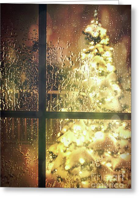 Icy Window With Holiday Tree Full Of Lights Greeting Card by Sandra Cunningham