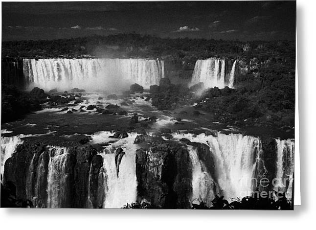 Iguazu Falls And San Martin Island Seen From The Brazilian Side Of Iguacu National Park Brazil Greeting Card