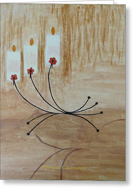 Greeting Card featuring the painting Illumination by Sonali Gangane