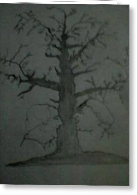 Illusion Tree Show Many Faces Greeting Card by Arun Arya