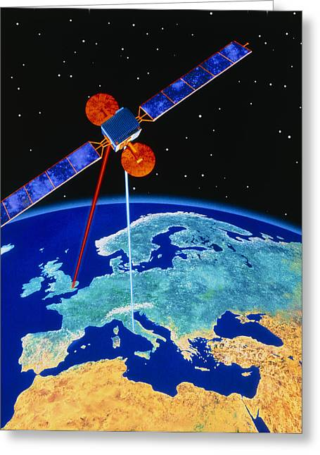 Illustration Depicting A Communications Satellite Greeting Card