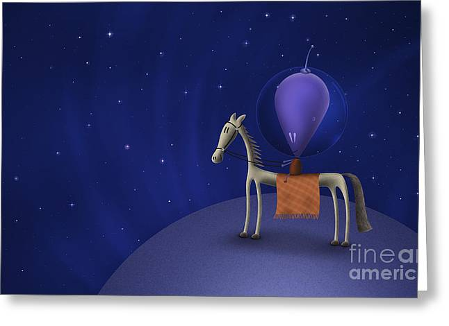 Illustration Of A Martian Riding Greeting Card by Vlad Gerasimov