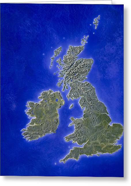Illustration Of A Relief Map Of The British Isles Greeting Card by Julian Baum