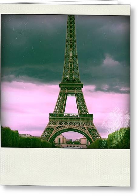 Illustration Of Eiffel Tower Greeting Card by Bernard Jaubert