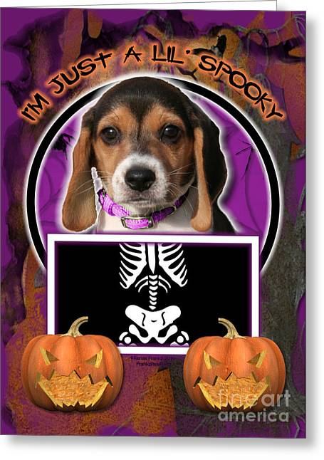 I'm Just A Lil' Spooky Beagle Puppy Greeting Card by Renae Laughner