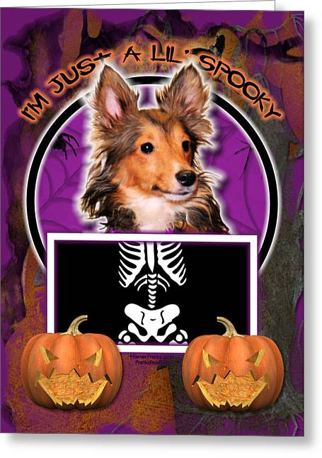 I'm Just A Lil' Spooky Sheltie Puppy Greeting Card by Renae Laughner