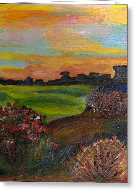 Imaginary View Of Golf Course Greeting Card by Anne-Elizabeth Whiteway