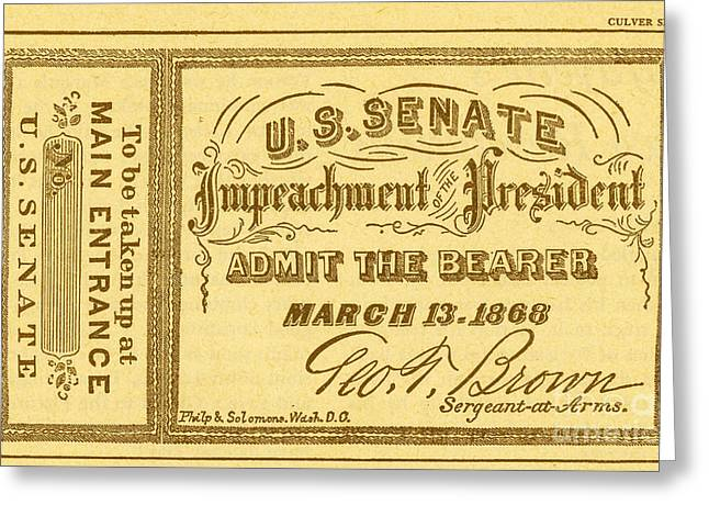 Impeachment Ticket, 1868 Greeting Card