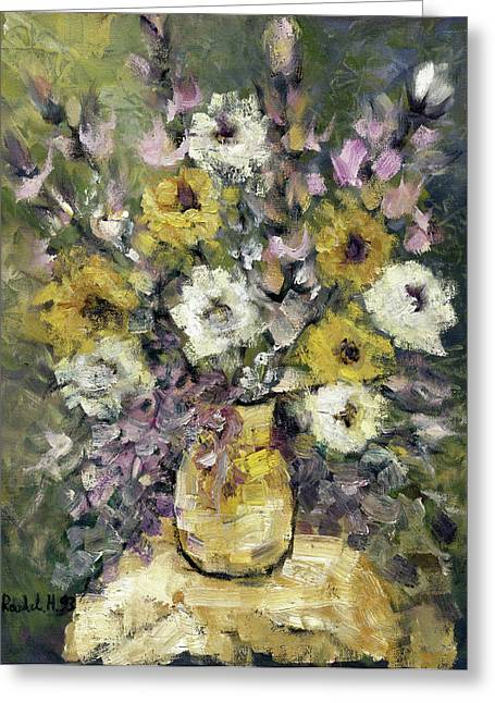 Impression Of Flowers Bouquet Yellow Vase On White Table Purple Flowers Green Background Stained   Greeting Card by Rachel Hershkovitz