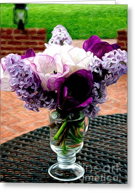 Greeting Card featuring the photograph Impressionist Floral Bouquet by Karen Lee Ensley