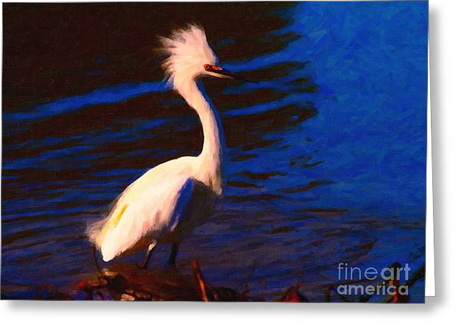 Impressions Of A Snowy Egret . Painterly Greeting Card by Wingsdomain Art and Photography
