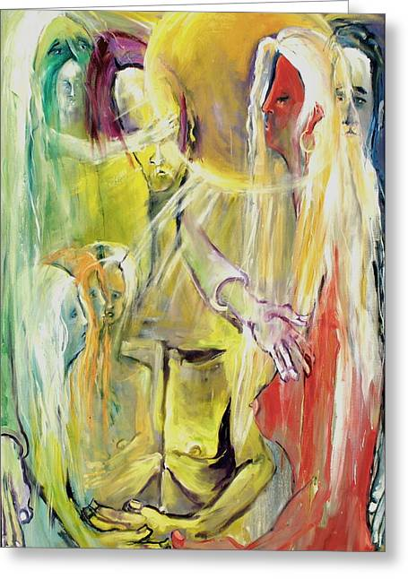 Greeting Card featuring the painting In And Out Of Spiritual Confusion by Kenneth Agnello