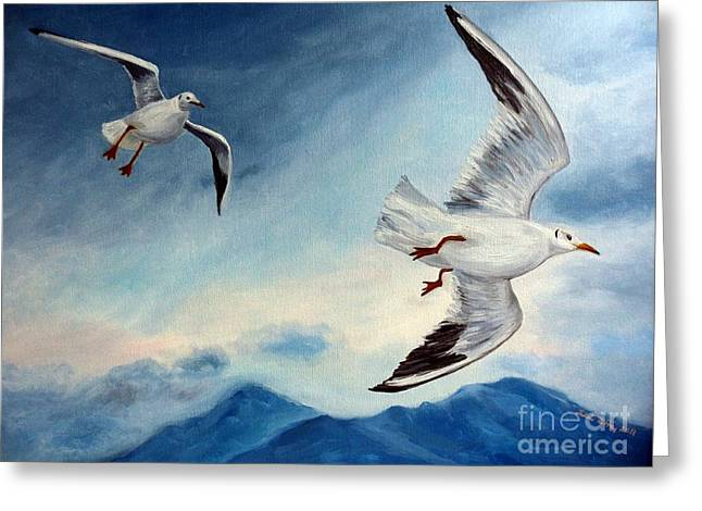 Greeting Card featuring the painting In Flight by Julie Brugh Riffey