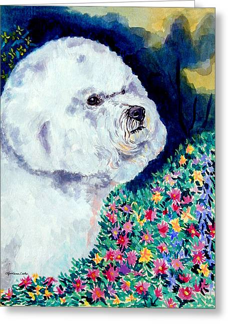 In Mom's Flowers - Bichon Frise Greeting Card by Lyn Cook