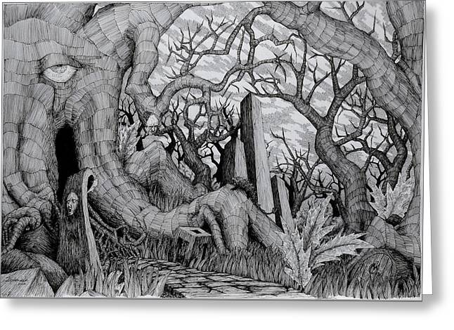 Greeting Card featuring the drawing in my garden II by Mariusz Zawadzki
