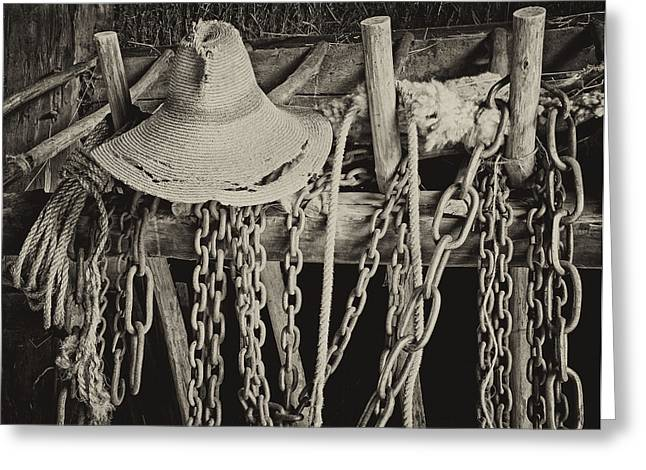 Greeting Card featuring the photograph In The Barn by Nancy De Flon