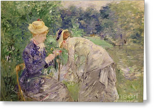 In The Bois De Boulogne Greeting Card by Berthe Morisot
