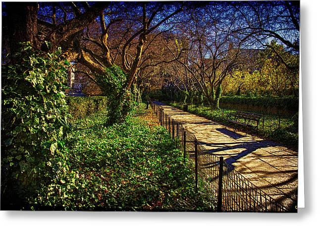 In The Conservatory Garden Greeting Card by Chris Lord